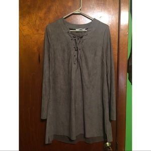 Long Sleeve Suede Dress